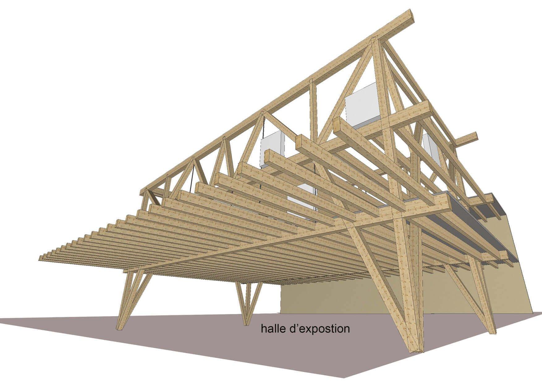 03-vue principe halle - 4 poteaux dans l'espace exposition sur cour